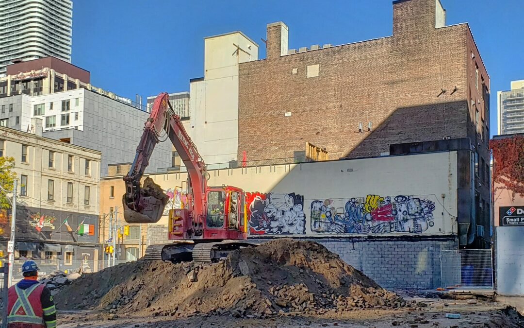 Excavation work continues at the Saint construction site.