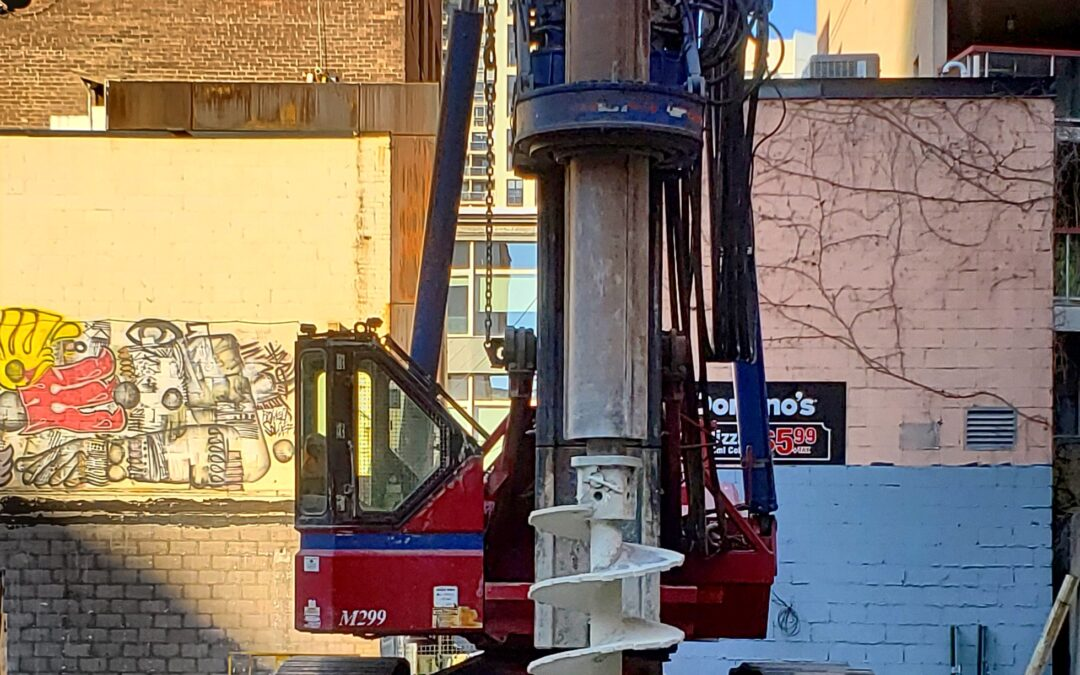 Drilling is ongoing at the Saint construction site.