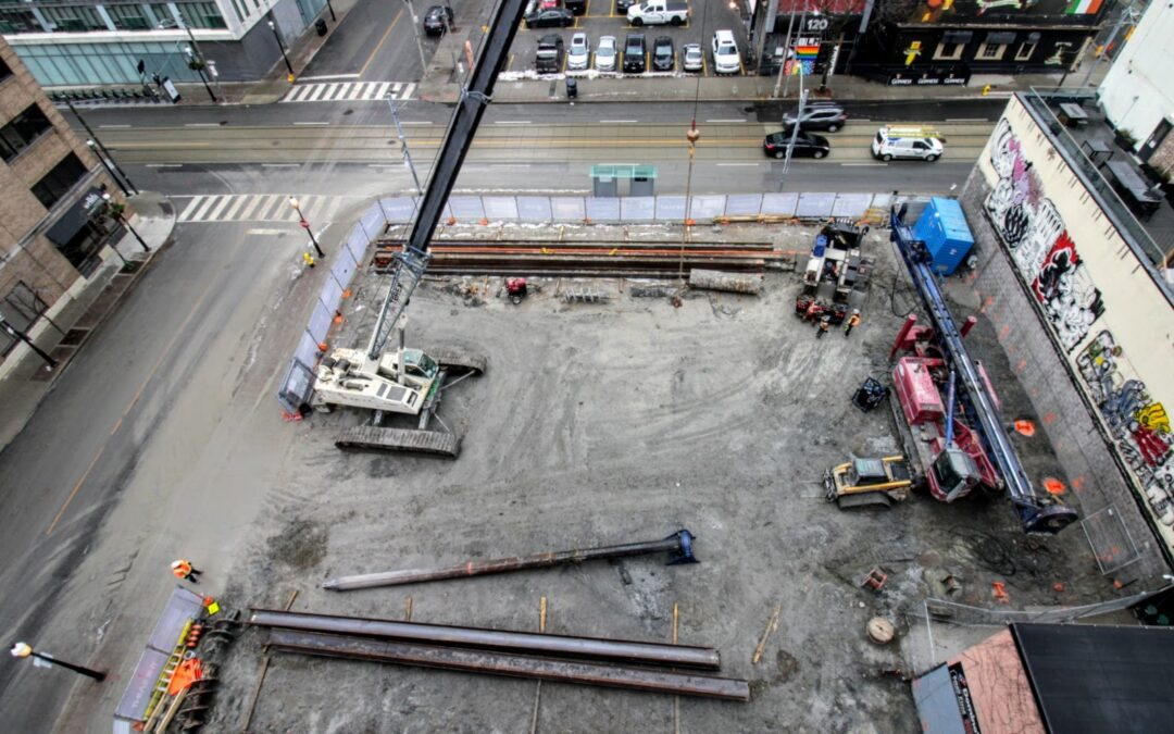 Drilling and Pile Driving work continues at the Saint.