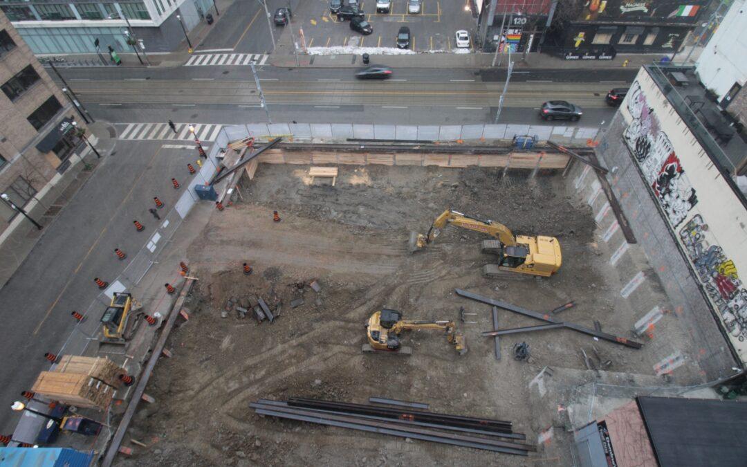 Excavation underway at the Saint construction site.