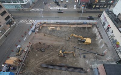 Excavation underway at the Saint construction site.